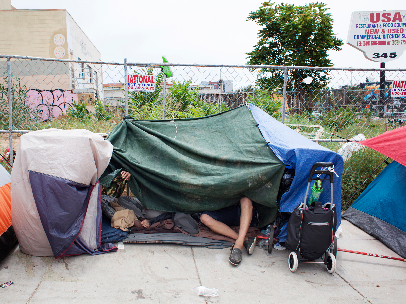 San Diego has the fourth biggest homeless population in the US. Streets filled with tents and other makeshift shelters are rather common, especially East Village.