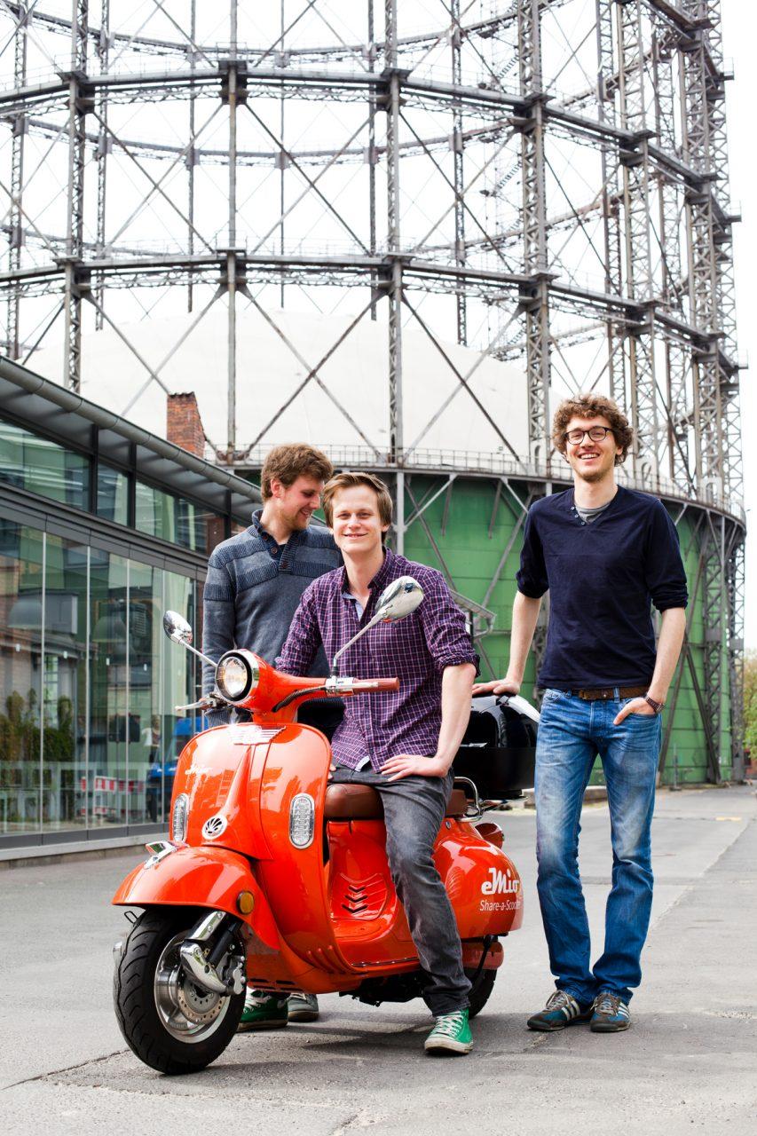 eMio-Gründer Hauke Feldvoss, Valerian Seither und Alexander Meiritz und für 'Impulse'